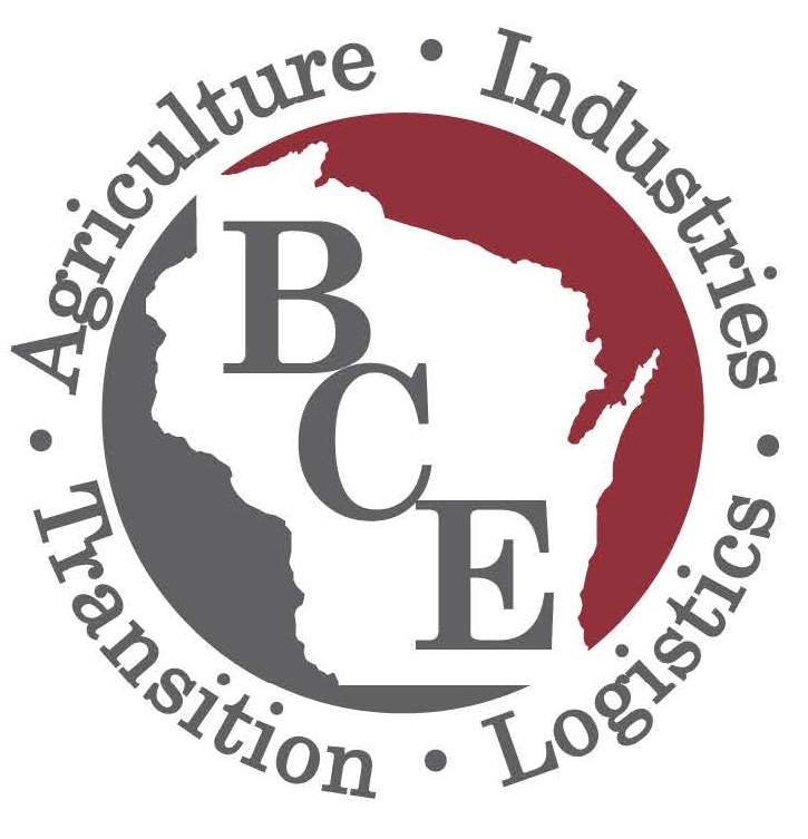 Bureau of Correctional Enterprises (BCE) logo - BCE on a white silhouette of Wisconsin with the words Transition - Agriculture - Industries - Logistics around outside of circle