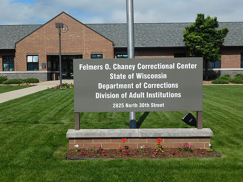 Sign and front entrance to FOCCC (Felmers O. Chaney Correctional Center)